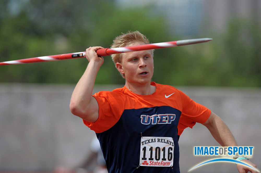 Mar 30, 2012; Austin, TX, USA; Richard Olsson of UTEP places fourth in the javelin at 227-9 (69.43m) in the 85th Clyde Littlefield Texas Relays at Mike A. Myers Stadium.