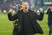 Forest Green Rovers manager, Mark Cooper reaction to the FGR fans at the end of the match during the EFL Sky Bet League 2 play off first leg match between Tranmere Rovers and Forest Green Rovers at Prenton Park, Birkenhead, England on 10 May 2019.
