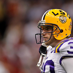 Jan 9, 2012; New Orleans, LA, USA; LSU Tigers kicker Drew Alleman (30) against the Alabama Crimson Tide before the 2012 BCS National Championship game at the Mercedes-Benz Superdome.  Mandatory Credit: Derick E. Hingle-US PRESSWIRE