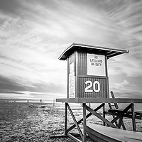 Lifeguard tower Newport Beach, CA picture on Balboa Peninsula in Orange County Southern California.