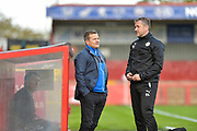 Forest Green Rovers manager, Mark Cooper and Forest Green Rovers assistant manager, Scott Lindsey during the EFL Sky Bet League 2 match between Stevenage and Forest Green Rovers at the Lamex Stadium, Stevenage, England on 21 October 2017. Photo by Adam Rivers.