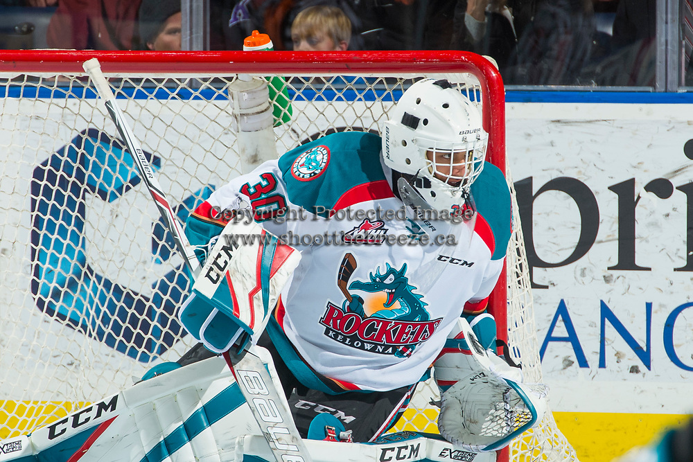 KELOWNA, CANADA - DECEMBER 30: Roman Basran #30 of the Kelowna Rockets defends the net against the Victoria Royals on December 30, 2017 at Prospera Place in Kelowna, British Columbia, Canada.  (Photo by Marissa Baecker/Shoot the Breeze)  *** Local Caption ***
