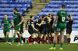 Edinburgh Rugby players celebrate the win over London Irish - Photo mandatory by-line: Robbie Stephenson/JMP - Mobile: 07966 386802 - 05/04/2015 - SPORT - Rugby - Reading - Madejski Stadium - London Irish v Edinburgh Rugby - European Rugby Challenge Cup