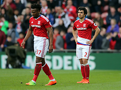 19.03.2017, Riverside Stadium, Middlesbrough, ENG, Premier League, FC Middlesbrough vs Manchester United, 29. Runde, im Bild Fabio (r) of Middlesbrough reacts to conceding a third goal // Fabio (r) of Middlesbrough reacts to conceding a third goal during the English Premier League 29th round match between FC Middlesbrough and Manchester United at the Riverside Stadium in Middlesbrough, Great Britain on 2017/03/19. EXPA Pictures © 2017, PhotoCredit: EXPA/ Focus Images/ Simon Moore<br /> <br /> *****ATTENTION - for AUT, GER, FRA, ITA, SUI, POL, CRO, SLO only*****