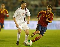 Spain's Ignacio Camacho (r) and Norway's Elabdellaoui during international sub21 match.March 21,2013. (ALTERPHOTOS/Acero)