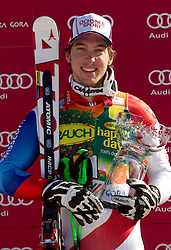 Winner Carlo Janka of Switzerland at flower ceremony after the Men's Giant Slalom of FIS Ski World Cup Alpine Kranjska Gora, on March 5, 2011 in Vitranc/Podkoren, Kranjska Gora, Slovenia.  (Photo By Vid Ponikvar / Sportida.com)