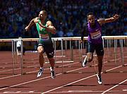 Garfield Darien (left) dips to finish second during the Sainsbury's Birmingham Grand Prix IAAF Diamond League Meeting at Alexandra Stadium, Birmingham, West Midlands, England on June  07  2015. (Steve Flynn/Image of Sport)
