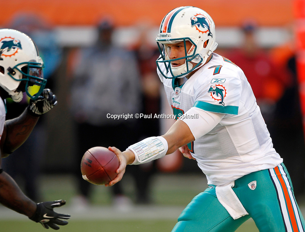 Miami Dolphins quarterback Chad Henne (7) hands off the ball on a running play during the NFL week 8 football game against the Cincinnati Bengals on Sunday, October 31, 2010 in Cincinnati, Ohio. The Dolphins won the game 22-14. (©Paul Anthony Spinelli)