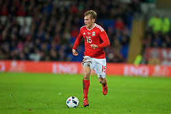 CARDIFF, WALES - Friday, November 13, 2015: Wales' George Williams in action against the Netherlands during the International Friendly match at the Cardiff City Stadium. (Pic by David Rawcliffe/Propaganda)
