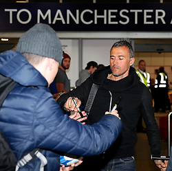 Barcelona manager Jose Enrique arrives at Manchester Airport  - Mandatory by-line: Matt McNulty/JMP - 31/10/2016 - FOOTBALL - Manchester Airport - Manchester, England - Manchester City v Barcelona - UEFA Champions League - Group C