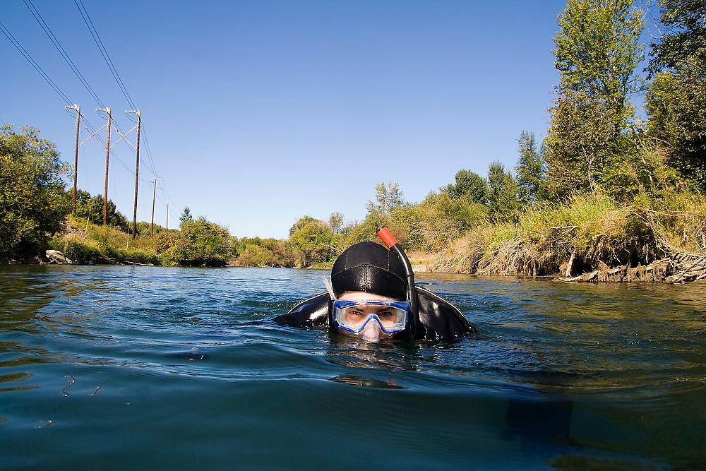 Jeremy Cram, graduate student at the University of Washington, conducts snorkel surveys of fish and habitat distribution on the Yakima River in Eastern Washington.
