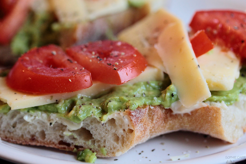 Macro image of a sandwich with cheese, avocado and tomato