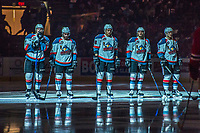 KELOWNA, CANADA - APRIL 8: Lucas Johansen #7, Dillon Dube #19, Jack Cowell #8, Rodney Southam #17 and James Hilsendager #2 of the Kelowna Rockets stand on the blue line as the starting line up for game 2 of round 2 playoffs against the Portland Winterhawks on April 8, 2017 at Prospera Place in Kelowna, British Columbia, Canada.  (Photo by Marissa Baecker/Shoot the Breeze)  *** Local Caption ***