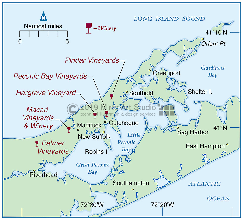 Vector map of Peconic Bay, Long Island, New York