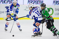 16.01.2015, Hala Tivoli, Ljubljana, SLO, EBEL, HDD Telemach Olimpija Ljubljana vs EC VSV, 39. Runde, in picture Brock McBride (EC VSV, #10) vs Gregor Koblar (HDD Telemach Olimpija, #20) during the Erste Bank Icehockey League 39. Round between HDD Telemach Olimpija Ljubljana and EC VSV at the Hala Tivoli, Ljubljana, Slovenia on 2015/01/16. Photo by Morgan Kristan / Sportida