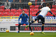 Leeds United goalkeeper Kiko Casilla (33) warming up during the EFL Sky Bet Championship match between Stoke City and Leeds United at the Bet365 Stadium, Stoke-on-Trent, England on 19 January 2019.