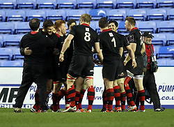 Edinburgh Rugby players celebrate their win - Photo mandatory by-line: Robbie Stephenson/JMP - Mobile: 07966 386802 - 05/04/2015 - SPORT - Rugby - Reading - Madejski Stadium - London Irish v Edinburgh Rugby - European Rugby Challenge Cup