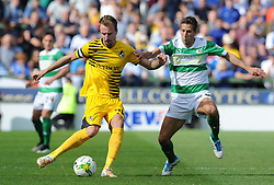 Chris Lines of Bristol Rovers is tackled by Wes Fogden of Yeovil Town - Photo mandatory by-line: Harry Trump/JMP - Mobile: 07966 386802 - 15/08/15 - SPORT - FOOTBALL - Sky Bet League Two - Yeovil Town v Bristol Rovers - Huish Park, Yeovil, England.