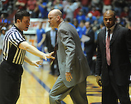 Mississippi coach Andy Kennedy, right, argues with an official during a game against Memphis during the NIT on Friday, March 19, 2010. Ole Miss won 90-81.