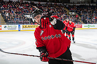 KELOWNA, BC - DECEMBER 30:  Cole Moberg #2 of the Prince George Cougars skates to the bench to celebrate a first period goal against the Kelowna Rockets at Prospera Place on December 30, 2019 in Kelowna, Canada. (Photo by Marissa Baecker/Shoot the Breeze)