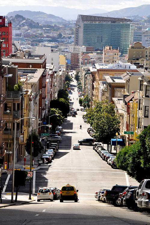 San Francisco cityscape, looking downhill