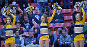 SAN DIEGO, CA - MARCH 16:  West Virginia Mountaineers cheerleaders perform during a first round game of the Men's NCAA Basketball Tournament against the Murray State Racers at Viejas Arena in San Diego, California. West Virginia won 85-68.  (Photo by Sam Wasson)