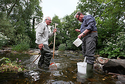UK ENGLAND ENGLAND SHROPSHIRE LLANYBLODWEL 1JUL15 -  Anglers Robert Park and Des during monthly kick sampling in the river Tanat in Llanyblodwel, part of the river Severn catchment area.<br /> <br /> jre/Photo by Jiri Rezac / WWF UK<br /> <br /> &copy; Jiri Rezac 2015
