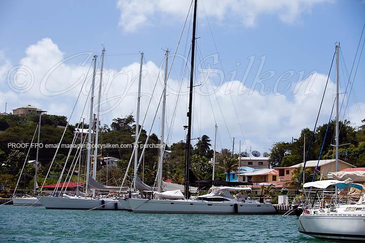 Sailing yachts docked at Port Louis Marina