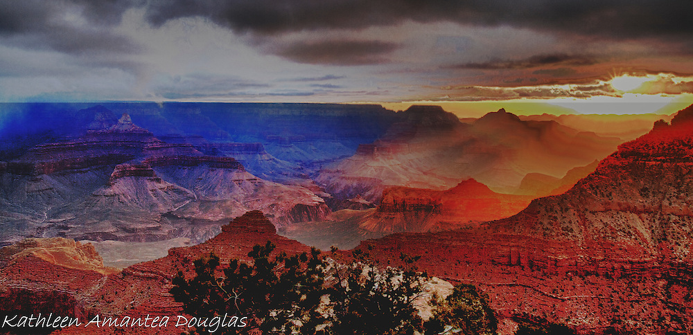 Sunset at Grand Canyon National Park off Desert View Drive, South Rim tinted layers of Supergroup and Colorado River.