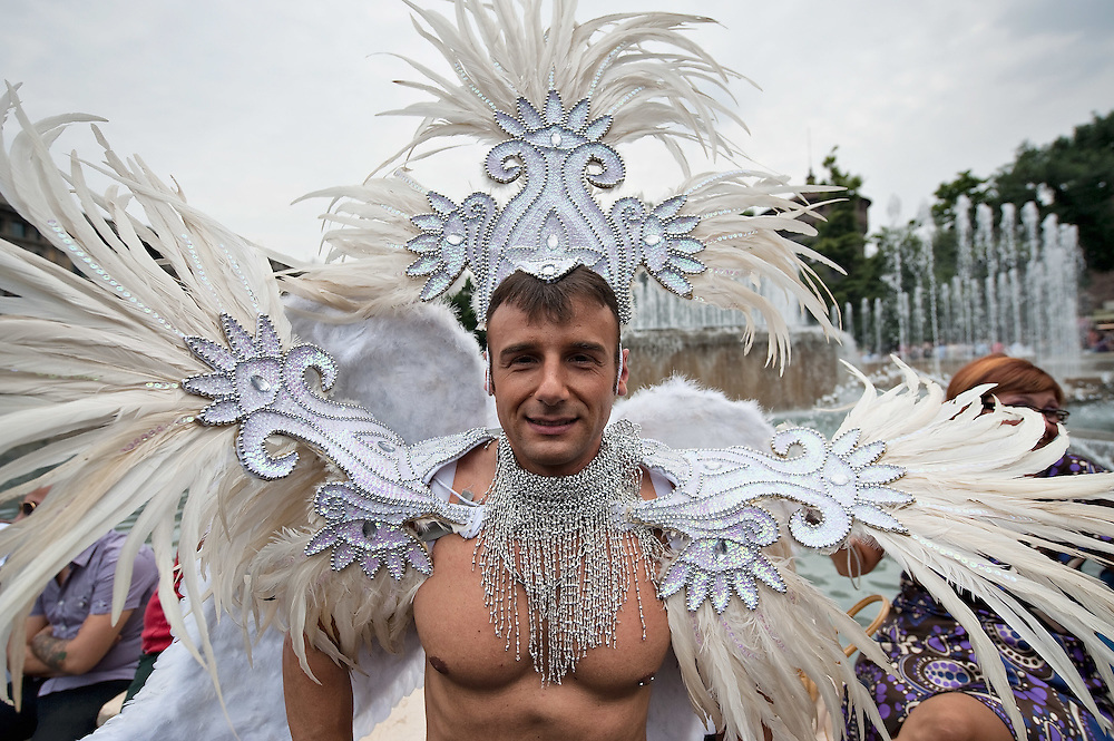 MILAN, ITALY - JUNE 12:  One of the participants to the Gay Pride Milano during the march on June 12, 2010 in Milan, Italy.  Pride Milano is one of the oldest gay marches in Italy and today's march is against homophobic violence  (Photo by Marco Secchi/Getty Images)
