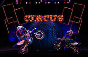 UNITED KINGDOM, London: 8 February 2016. A Brazilian group of motorcyclists performs there act Globe of Terror for a photo-call for a circus for theatre performance called Zippos Cirque Berserk at the Peacock Theater  in central London.  Pic by Andrew Cowie / Story Picture Agency