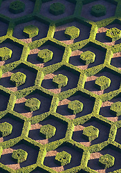Aerial view of the ornamental maze, part of the National Botanic Garden of Belgium, at Le Botanique, a Brussels landmark. (Photo © Jock Fistick)