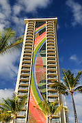 The Rainbow Tower of the Hilton Hawaiian Village in Waikiki, Hawaii.