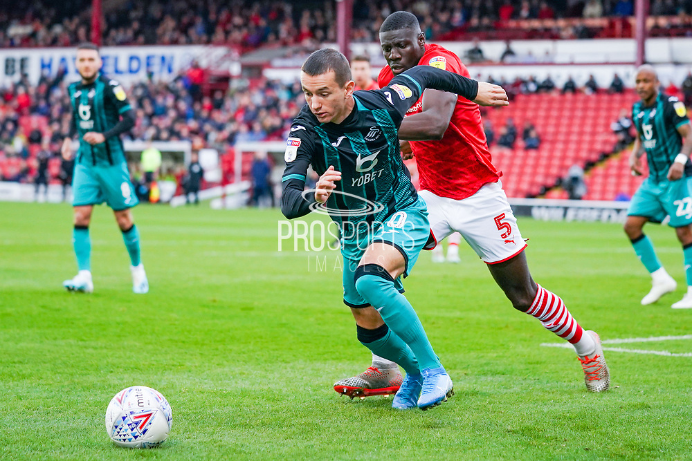 Swansea City midfielder Bersant Celina (10) in action during the EFL Sky Bet Championship match between Barnsley and Swansea City at Oakwell, Barnsley, England on 19 October 2019.