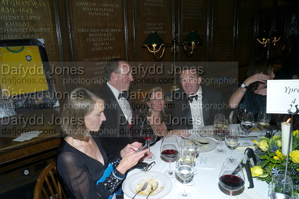 LYNN ENGELHARDTSEN; MARK SOMERS; JO SOMERS; HUGH MARTIN, Charity Dinner in aid of Caring for Courage The Royal Scots Dragoon Guards Afganistan Welfare Appeal. In the presence of the Duke of Kent. The Royal Hospital, Chaelsea. London. 20 October 2011. <br /> <br />  , -DO NOT ARCHIVE-© Copyright Photograph by Dafydd Jones. 248 Clapham Rd. London SW9 0PZ. Tel 0207 820 0771. www.dafjones.com.