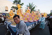The annual Lotus Lantern Festival is held to celebrate Buddha's Birthday. The parade getting ready to leave Dongdaemun Stadium.