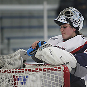 UConn goal tender Annie Belanger during the UConn Vs Boston University, Women's Ice Hockey game at Mark Edward Freitas Ice Forum, Storrs, Connecticut, USA. 5th December 2015. Photo Tim Clayton