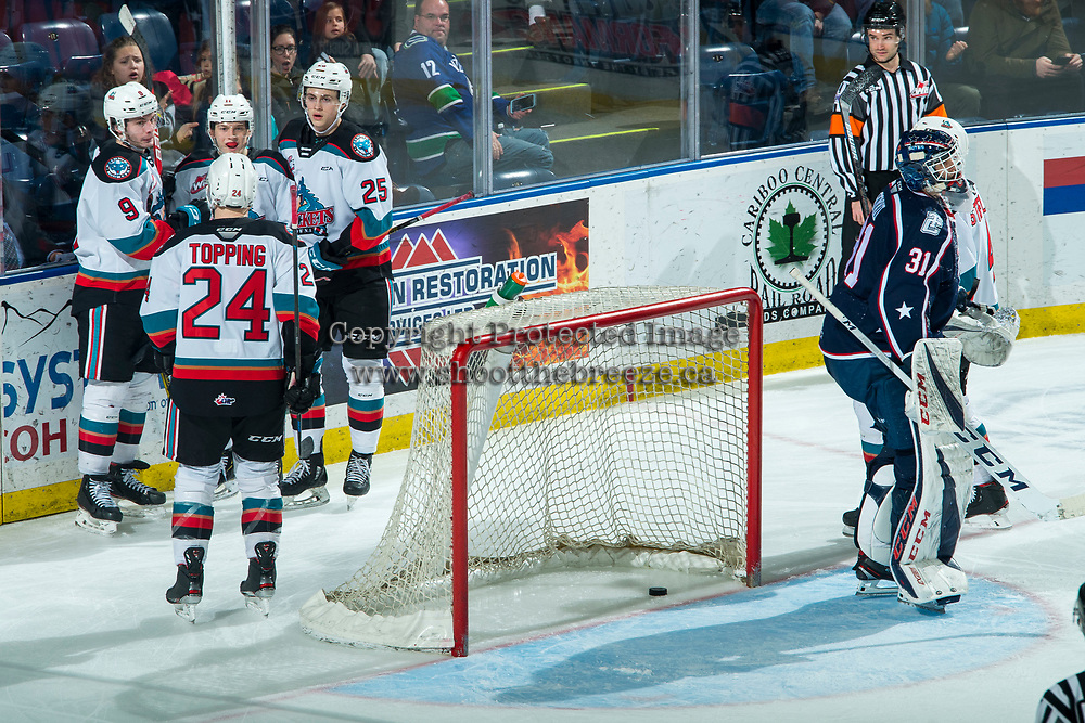 KELOWNA, BC - FEBRUARY 12: Mark Liwiski #9, Pavel Novak #11, Tyson Feist #25 and Kyle Topping #24 of the Kelowna Rockets celebrate a goal against the Tri-City Americans at Prospera Place on February 8, 2020 in Kelowna, Canada. (Photo by Marissa Baecker/Shoot the Breeze)