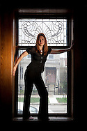 "Novelist Gillian Flynn  at her home in Chicago.  Her new novel  ""Dark Places"" is  about murder in Kansas and aftermath."