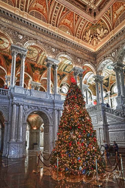 USA, Washington, D.C. The Christmas tree in the Great Hall of the Jefferson Building of the Library of Congress.