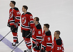 Jan 22, 2010; Newark, NJ, USA; (l to r) New Jersey Devils right wing Jamie Langenbrunner (15), New Jersey Devils center Travis Zajac (19), New Jersey Devils defenseman Andy Greene (6), New Jersey Devils left wing Zach Parise (9), and New Jersey Devils defenseman Bryce Salvador (24) during the first period at the Prudential Center.