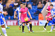 Hartlepool captain Nicky Featherstone controls the ball in the second half during the EFL Sky Bet League 2 match between Colchester United and Hartlepool United at the Weston Homes Community Stadium, Colchester, England on 25 February 2017. Photo by Ian  Muir.