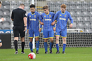 Jason Stripp (captain), Alfie Egan, Neset Bellikli of AFC Wimbledon during the FA Youth Cup match between Newcastle United and AFC Wimbledon at St. James's Park, Newcastle, England on 6 January 2016. Photo by Stuart Butcher.