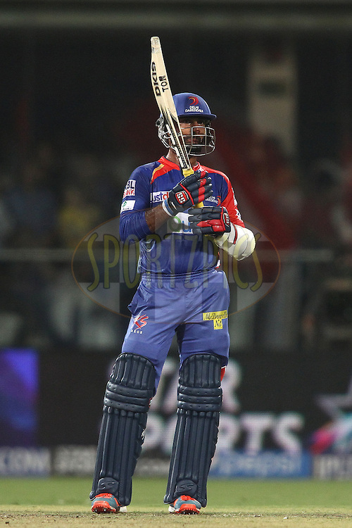 Dinesh Karthik of the Delhi Daredevils after reaching his fifty during match 26 of the Pepsi Indian Premier League Season 2014 between the Delhi Daredevils and the Chennai Super Kings held at the Feroze Shah Kotla cricket stadium, Delhi, India on the 5th May  2014<br /> <br /> Photo by Shaun Roy / IPL / SPORTZPICS<br /> <br /> <br /> <br /> Image use subject to terms and conditions which can be found here:  http://sportzpics.photoshelter.com/gallery/Pepsi-IPL-Image-terms-and-conditions/G00004VW1IVJ.gB0/C0000TScjhBM6ikg