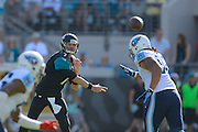 Jacksonville Jaguars quarterback Chad Henne (7) throws upfield during Jaguars 20-16 loss to Tennessee Titans at EverBank Field on Dec. 22, 2013  in Jacksonville, Florida.        ©2013 Scott A. Miller