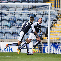 Raith Rovers Mark Stewart cele scoring their first goal. <br /> Half time : Raith Rovers 2 v 0 Livingston, SPFL Ladbrokes Premiership game played 8/8/2015 at Stark's Park.