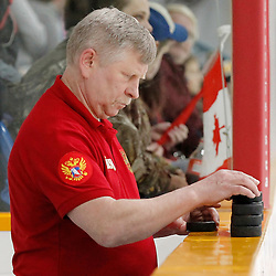 TRENTON, - Dec 10, 2015 -  Exhibition Game 3-  Russia vs Team Canada West at the 2015 World Junior A Challenge at the Duncan Memorial Gardens, ON. Team Russia Staff (Photo: Amy Deroche / OJHL Images)