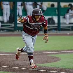 Texas Southern infielder Gerreck Jimenez (11) reacts as he hits an RBI single to take the lead against the Alabama State during the top of the thirteenth inning of the SWAC baseball championship final in New Orleans, La. Sunday, May 21, 2017.
