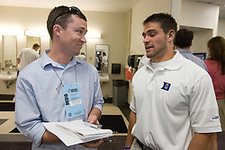 26 May 2007: Duke Blue Devils defenseman Tony McDevitt (44) talks with media in the locker room after a 12-11 win over the Cornell Big Red in the NCAA Semifinals at M&T Bank Stadium in Baltimore, MD.