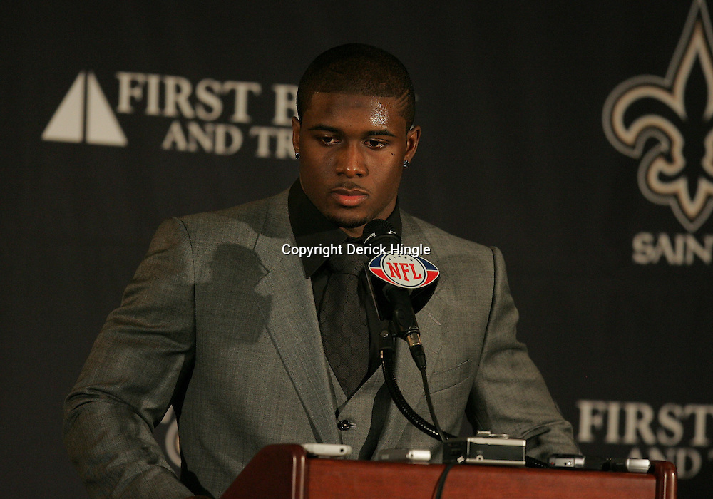16 January 2010:  New Orleans Saints running back Reggie Bush speaks to the media following a 45-14 win by the New Orleans Saints over the Arizona Cardinals in a 2010 NFC Divisional Playoff game at the Louisiana Superdome in New Orleans, Louisiana.